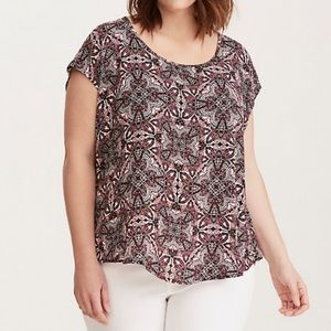 TORRID Medallion Print Georgette Button Back Top
